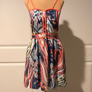 Colorful patterned strapped back dress